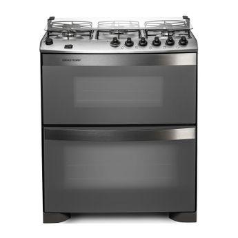 Fogão: fogão 5 bocas inox com forno duplo e messa compartimentada Brastemp Ative! BFD5NBR - Imagem Frontal