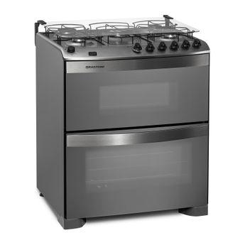 Fogão: fogão 5 bocas inox com forno duplo e messa compartimentada Brastemp Ative! BFD5NBR - Imagem em perspectiva
