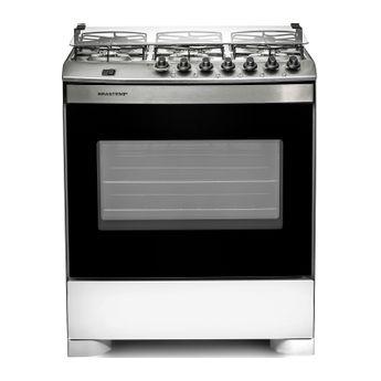 Fogão: fogão 6 bocas branco com mesa compartimentada Brastemp BFS6NBB - Imagem Frontal