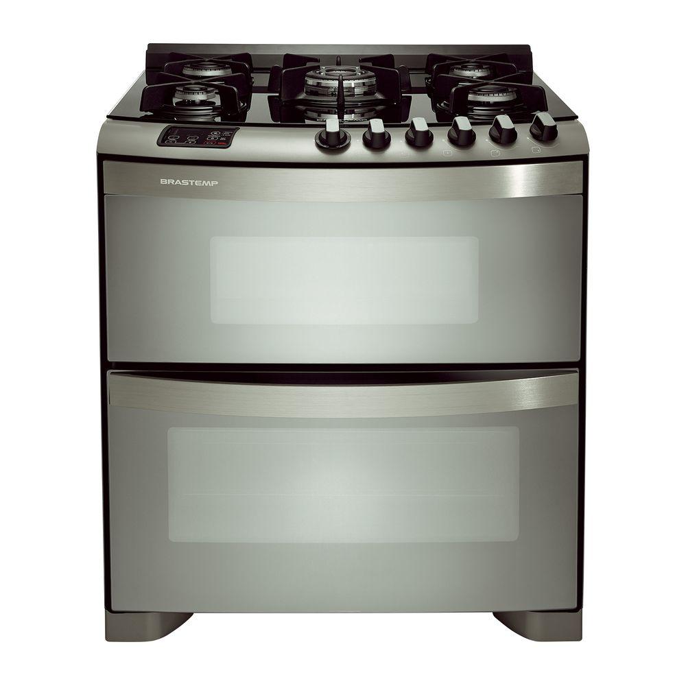 2ab309153 Fogão Brastemp 5 bocas duplo forno cor Inox mesa de vidro - Brastemp