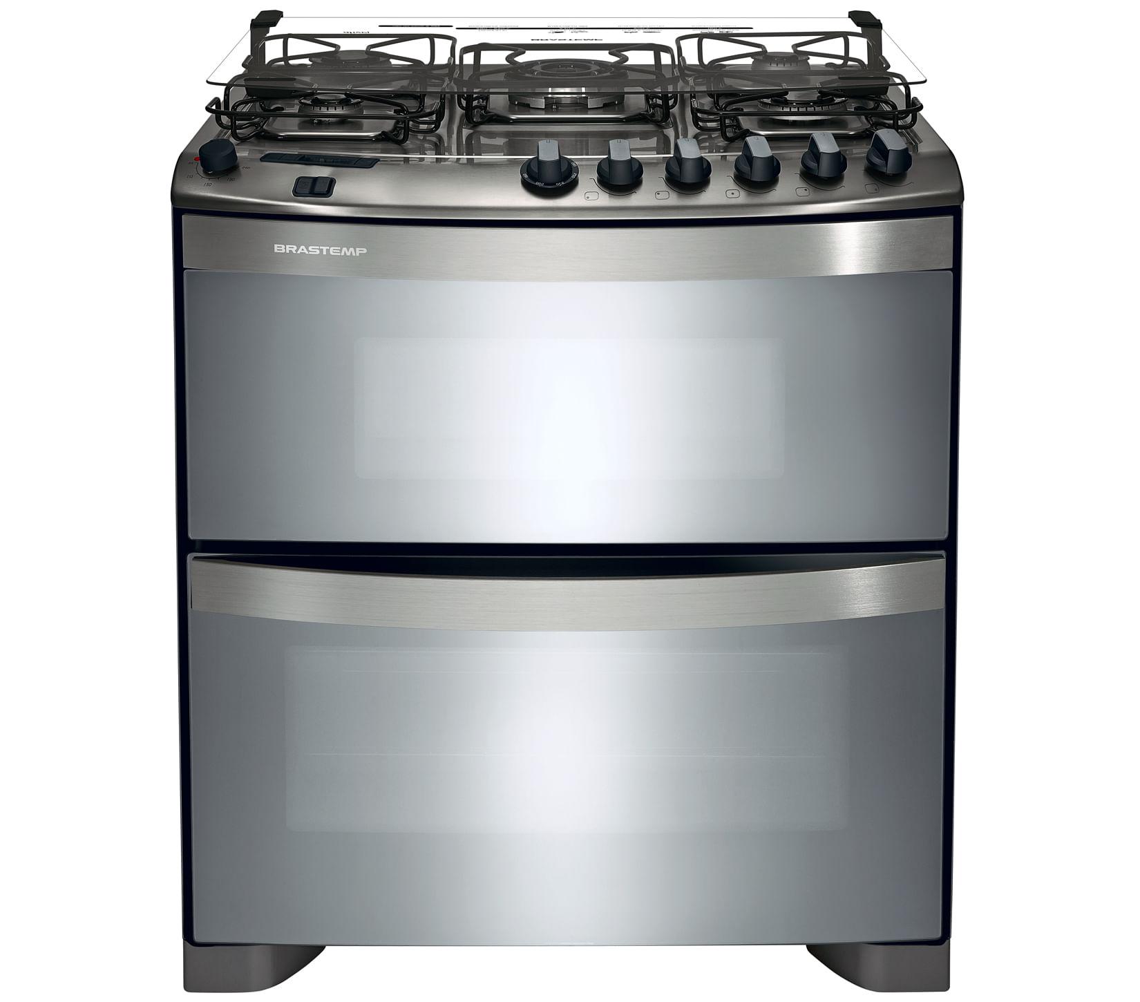Fogão Brastemp 5 bocas duplo forno cor Inox com quadrichama e timer digital
