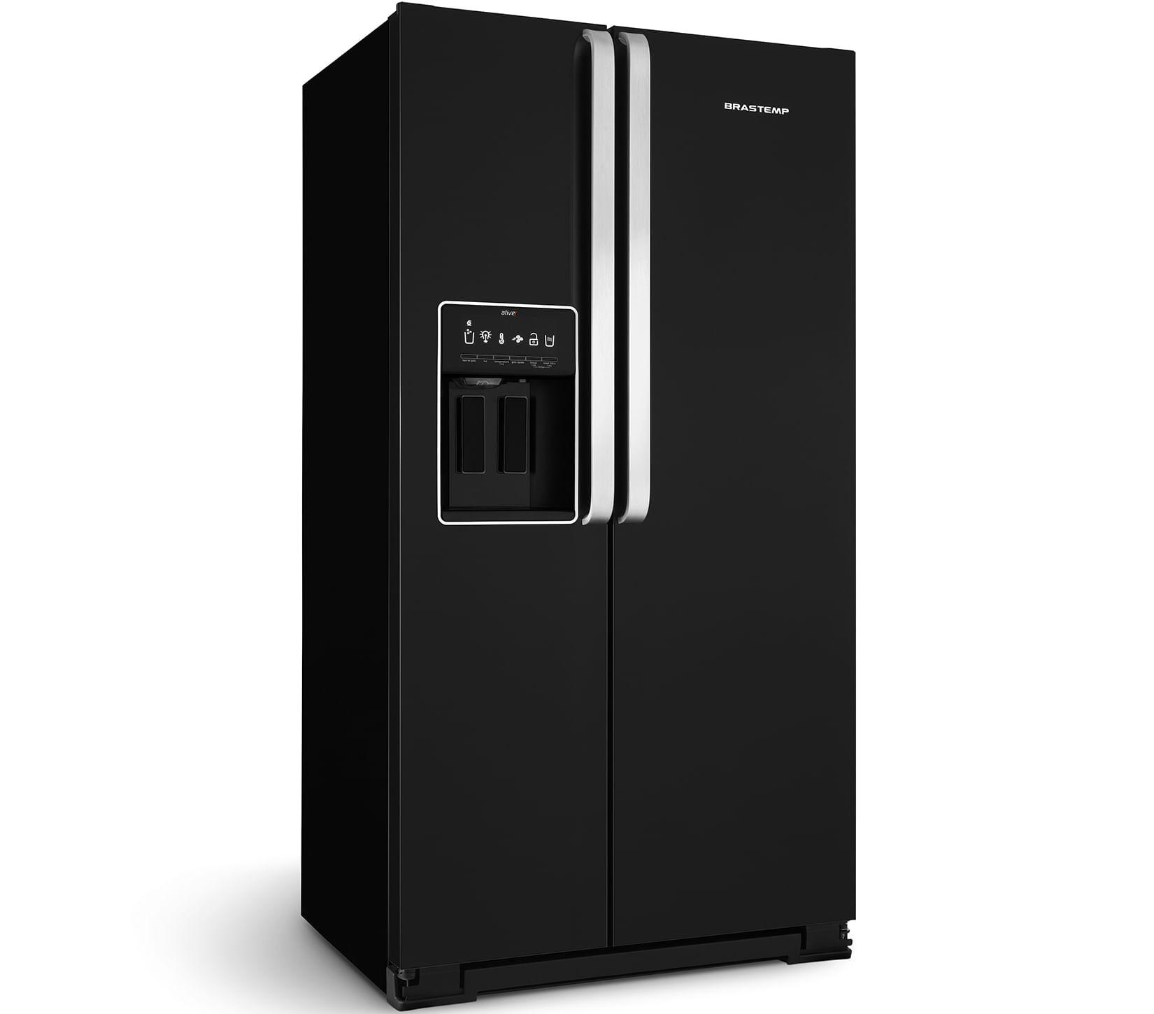 Geladeira Brastemp Ative! Side By Side Frost Free All Black com Gelo Portátil 540 Litros