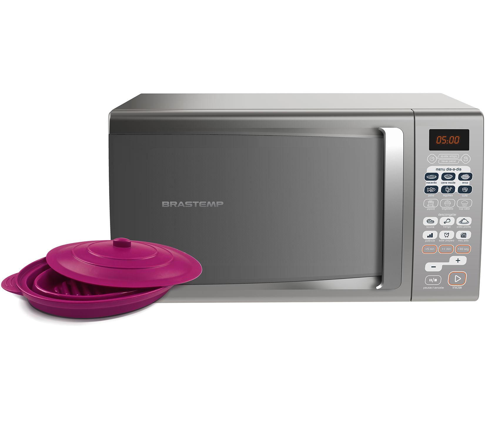 Micro-ondas Brastemp 30 Litros cor Inox com Menu Descongelar