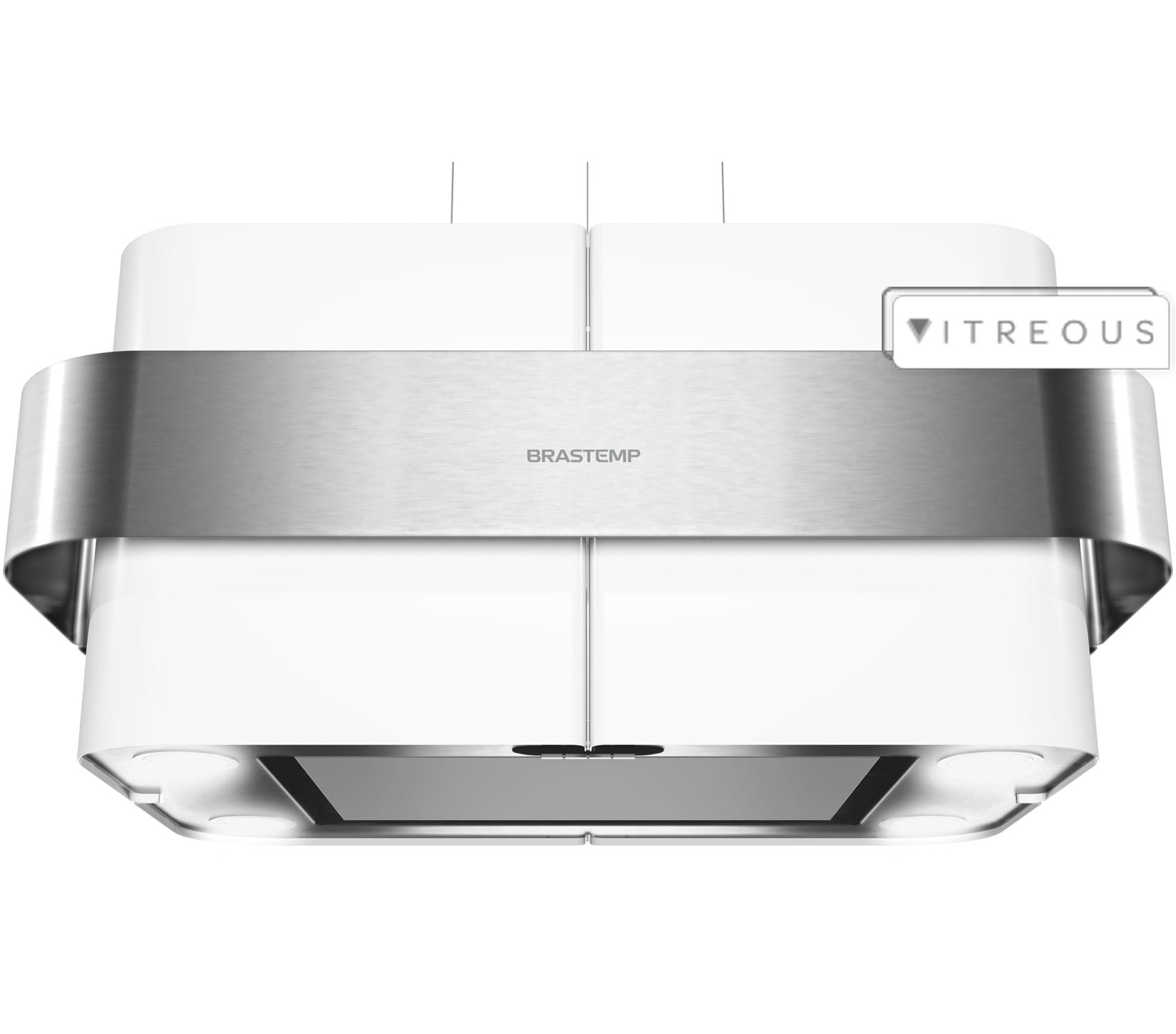 Coifa de Ilha Brastemp 75 cm branca luminária com controle remoto