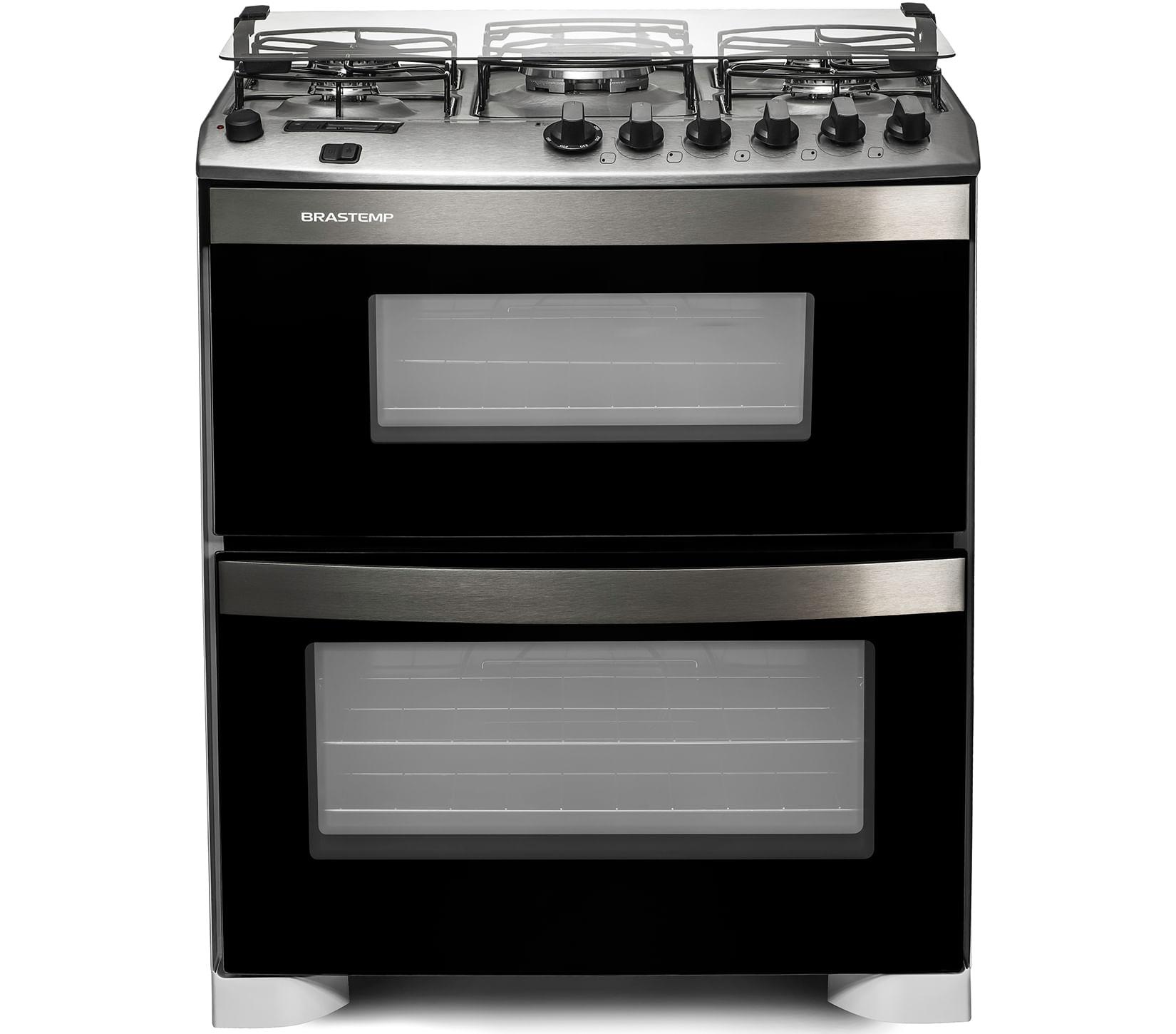 Fogão Brastemp 5 bocas duplo forno Branco com quadrichama e timer digital