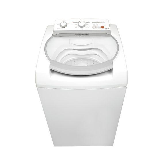 Máquina de lavar 9kg - Lavadora de roupas 9kg Branca Brastemp BWJ09AB - Imagem Frontal
