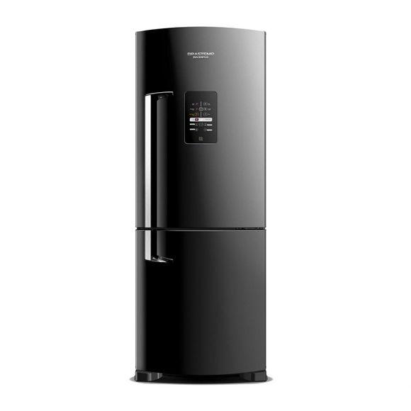 Geladeira Preta 422 Litros Frost Free Ative! Inverse Brastemp - Geladeira Preta Brastemp BRE50NEANA - Visão Frontal